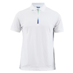 Cooling polo zip-up neck t-shirt short sleeves-white