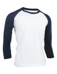 BCPOLO Unisex casual round neck t-shirt 3/4 sleeve 2 tone color Raglan t-shirt cotton comfortable t-shirt.-navy