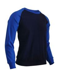 BCPOLO Men's Casual raglan 2 tone color t-shirt sportswear fashion crew neck cotton shirt.-navy t-shirt