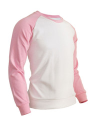 BCPOLO Men's Casual raglan 2 tone color t-shirt sportswear fashion crew neck cotton shirt.-pink shirt