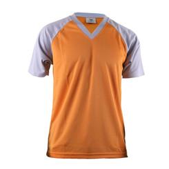 Men's Casual 2 Tone Orange V-Neck T-Shirt Raglan Short Sleeve Shirt