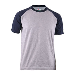 BCPOLO Casual  2 Tone Gray-Navy Raglan Crew Neck Short Sleeves Shirt