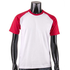 BCPOLO Casual  2 Tone White-Red Raglan Crew Neck Short Sleeves Shirt