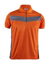 Polo Short Sleeves Zip Up Shirt Of Unique Design_Orange