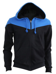 BCPOLO 2 Tone Zip Up Long Sleeves Fleece Hoodie_BLACK-BLUE