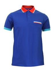 BCPOLO Sportswear Solid Blue Polo Shirt Short Seeve Golfwear