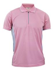 Coolon Sportswear Polo shirts Zip-up style short sleeve shirt. Pink