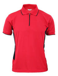 Coolon Sportswear Polo shirts Zip-up style short sleeve shirt. Red