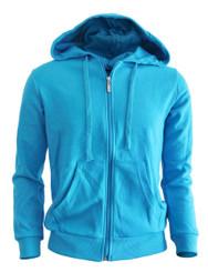 BCPOLO zipper hoodie jumper Zip-Hoodie, Solid Cotton Zip-up hoodie jacket-Blue
