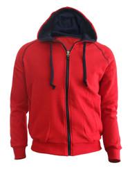 Casual Zip-Hoodie jumper Two tone paint color Hoodie zip-up. (Red)