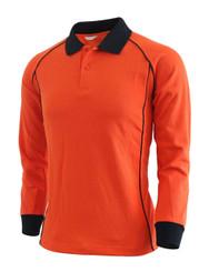 Casual unisex sportswear unique design long sleeve polo shirt-orange
