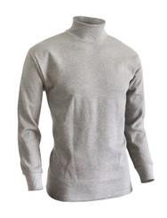 BCPOLO Men's half Turtleneck Long Sleeves warm sweat cotton mock neck style t-shirt.-gray