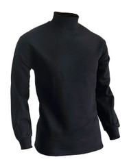 BCPOLO Men's half Turtleneck Long Sleeves warm sweat cotton mock neck style t-shirt.-black