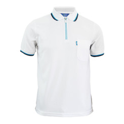 White Polo zip-up neck t-shirt short sleeves polo shirt