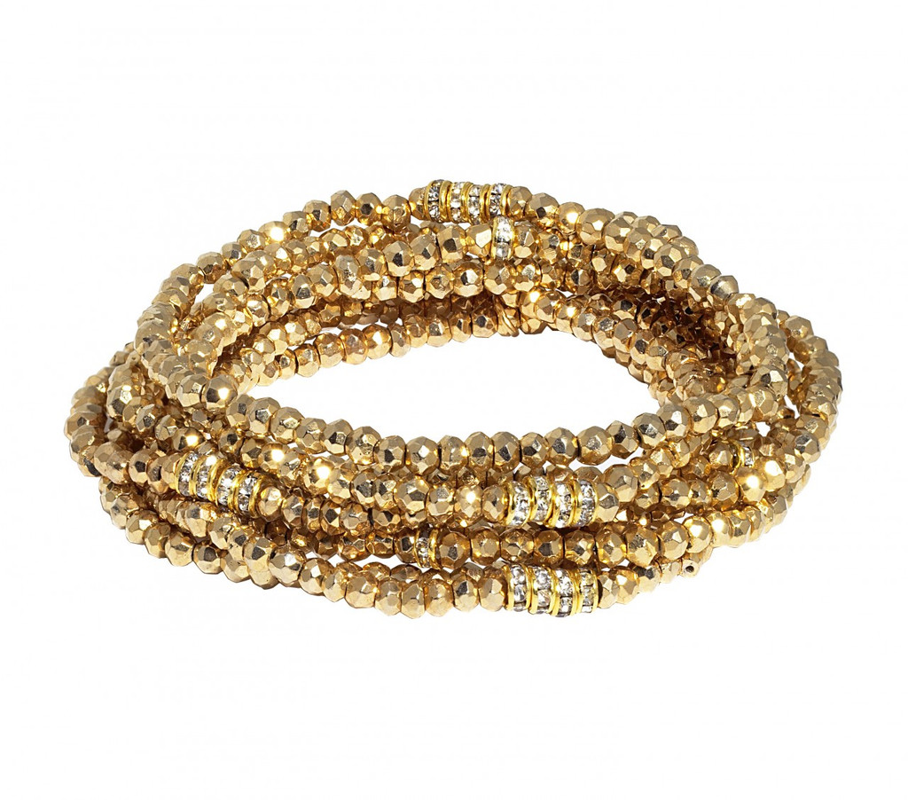 Gold Plated Pyrite Bracelet Stack