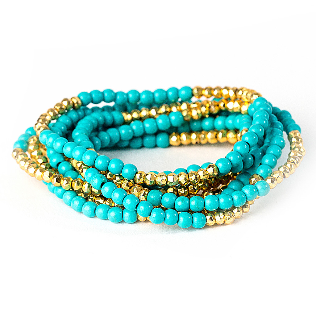 Turquoise/Gold Plated Pyrite