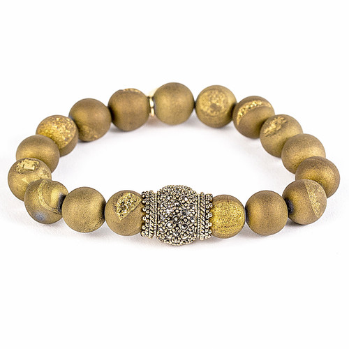Gold Matte Crystal/Antique Yellow Gold