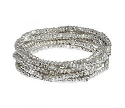 Silver Pyrite Bracelet Stack