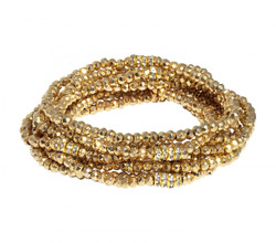 Gold Plated Pyrite Bracelet Stack