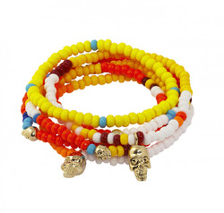 JAPANESE SEED BEAD BRACELET STACK SKULL MULTI