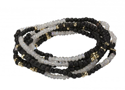 Ebony/White Topaz/Gold Plated Pyrite