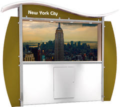 10 foot alumalite modular display with arch canopy featuring image of Empire State Building.
