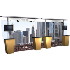 20 foot alumalite modular display with straight canopy featuring image of Chicago.