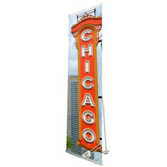 Lite 850 Banner Stand with custom Chicago sign graphic