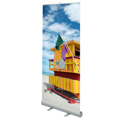 Lite 850 Banner Stand with custom life guard station on South Beach Miami graphic