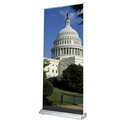 Scroll Slot 850 Banner Stand with custom White House graphics.