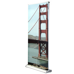 Scroll Slot Duel 850 Banner Stand with custom Golden Gate Bridge graphic