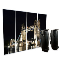 Lite 4 Pack Banner Stand with custom London graphic