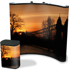 8 foot premium concave pop up with edge to edge bridge graphics with matching graphic case conversion kit