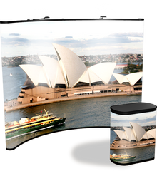 10 foot premium concave full graphic pop up display with end to end Sydney Opera House graphics and matching graphic case conversion kit