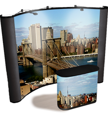 10 foot concave graphic pop up display with black fabric end caps, Brooklyn Bridge graphics, and matching graphic case conversion kit