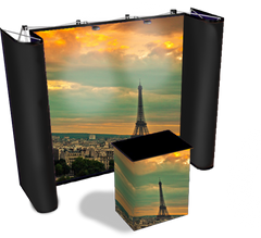 10 foot premium straight graphic pop up display with black fabric end caps, background of the Eiffel Tower in Paris, and matching graphic case conversion kit