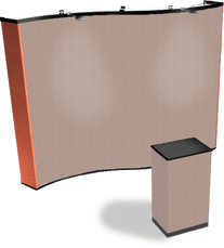 10 ft premium wave fabric popup display in beige with fabric case conversion kit