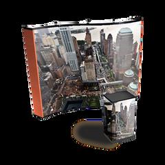 10' premium wave graphic pop display with city graphics and graphic podium wrap