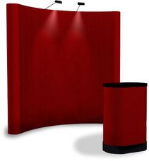 8 foot concave fabric popup display in royal red color with matching fabric conversion kit