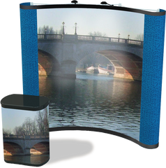 8 foot concave graphic pop up display with blue fabric end caps and London Bridge graphics and matching graphic conversion kit