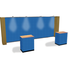 20 foot premium straight fabric pop-up display in monarch blue with gold dust side with matching fabric case conversion kits