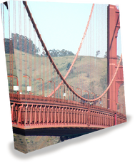 8 foot pop up express with wrap-around graphics of the Golden Gate Bridge in San Francisco.