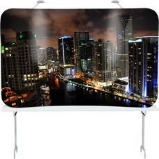 8 foot tension tabletop popup display with edge-to-edge graphics of Miami, Florida.