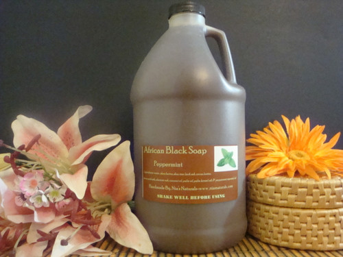 Peppermint - ORGANIC RAW LIQUID AFRICAN BLACK SOAP 64 OZ (1/2 GALLON)