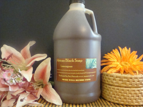 Lemongrass - ORGANIC RAW LIQUID AFRICAN BLACK SOAP 64 OZ (1/2 GALLON)