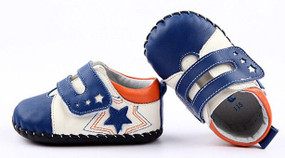 "Freycoo ""Little Star"" Blue Leather Soft Sole Shoes 6 - 12 months"