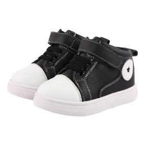 "Freycoo ""Champ"" Black Leather Hi Top Shoes"