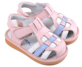 "Caroch ""Check"" Pink Leather Sandals"
