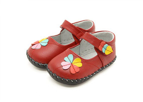 """Freycoo """"Gracie"""" Red Leather Soft Sole Shoes"""