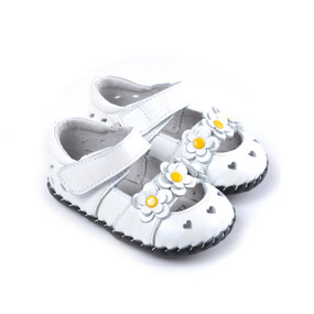 "Caroch ""Blossom"" White Leather Soft Sole Shoes"